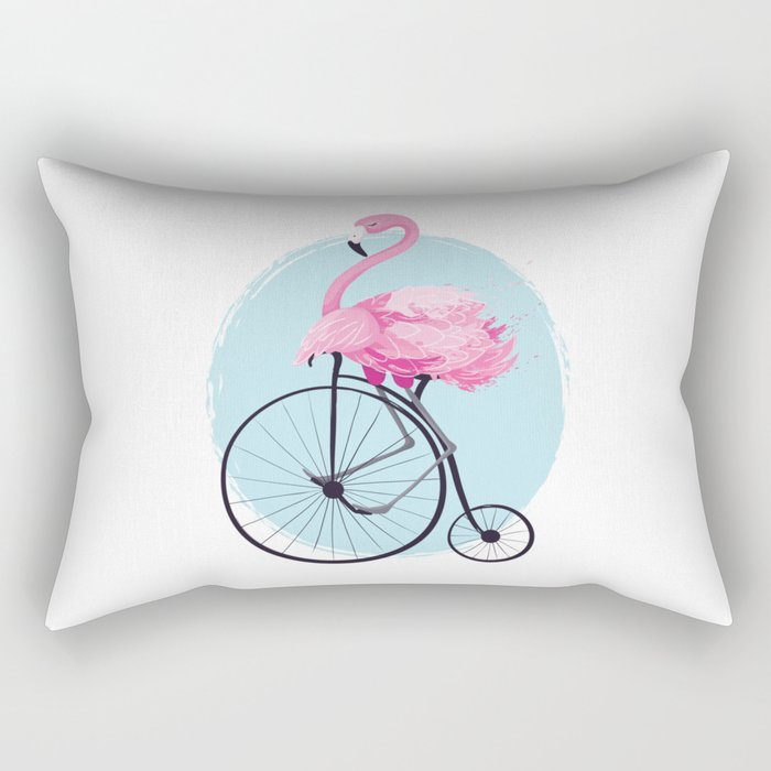 Cute flamingo on vintage bike. Rectangular Pillow