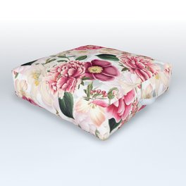 Vintage & Shabby Chic - Pink Chinoserie Flower Pattern Outdoor Floor Cushion