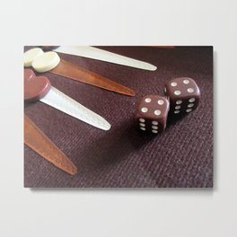 Backgammon dice double Metal Print