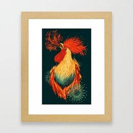 Fire Rooster Framed Art Print