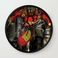 iron maiden Wall Clocks featuring iRon by wOlly