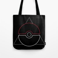 pokeball Tote Bags featuring pokeball by Winter Graphics
