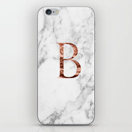Monogram rose gold marble B iPhone Skin