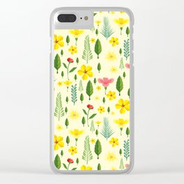 Tropical sunshine yellow pink green floral pattern Clear iPhone Case
