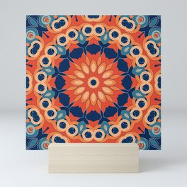Blue orange mandala Mini Art Print