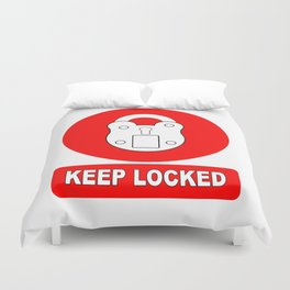 Keep Locked Padlock Sign Duvet Cover