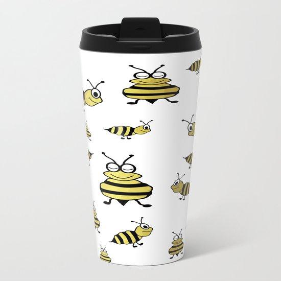 Golden Bees Metal Travel Mug