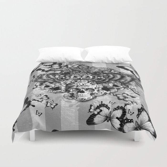 Lost And Found Fl Owl With Sugar Skull Duvet Cover