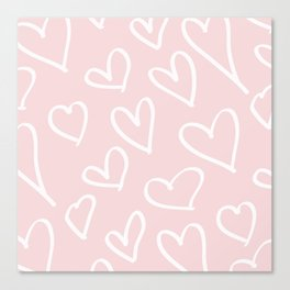Pink & White-Love Heart Pattern-Mix & Match with Simplicty of life Canvas Print