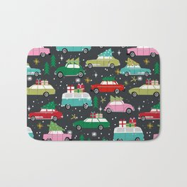 Christmas pattern print vintage cars holiday gifts presents christmas trees cute decor Bath Mat