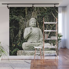 asian, religion, white old sitting buddha statue with raised hand Wall Mural