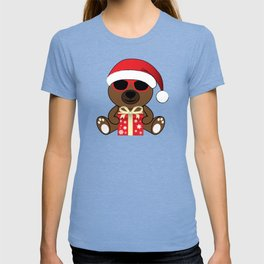Cool Santa Bear with sunglasses and Christmas gifts pattern T-shirt