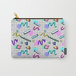 80s Retro Party Grid Design (White BG) Carry-All Pouch
