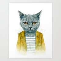 kitty Art Prints featuring Kitty by Leslie Evans