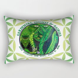 Garden Guardian Gnome in Spring Greens Rectangular Pillow