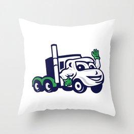 Semi Truck Rig Waving Cartoon Throw Pillow