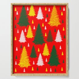 green gold silver Christmas trees on red background Serving Tray