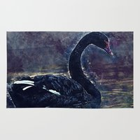 black swan Area & Throw Rugs featuring Black swan by jbjart