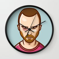 jesse pinkman Wall Clocks featuring Jesse Pinkman by Sherif Adel