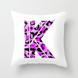 Abstract Letter K Watercolour Leopard Print Alphabet Throw Pillow