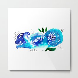 Three Blue Christchurch Roses Metal Print