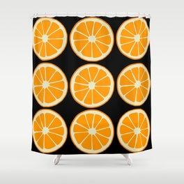 Oranges on Black, Fruit Pattern Shower Curtain
