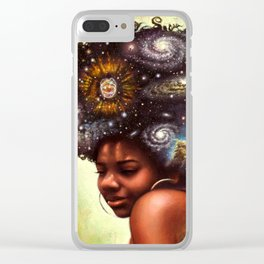 Black-Girl Magic - woman with the universe in her afro Clear iPhone Case