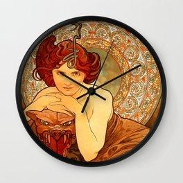 "Alphonse Mucha ""The Precious Stones Series: Emerald"" Wall Clock"
