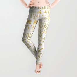 Figure Skating Subway Style Typographic Design Gold Foil Leggings