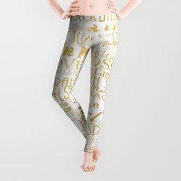 Figure Skating Subway Style Typographic Design Gold Foil Leggings