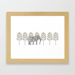 wire elephant illustration Framed Art Print
