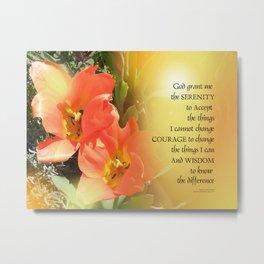 Serenity Prayer Red-Orange Tulips on Yellow Metal Print