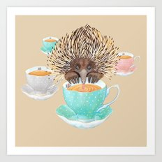 Echidna Drinking Tea Art Print