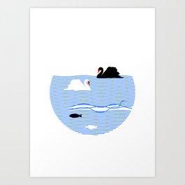 Black Swan White Swan Art Print