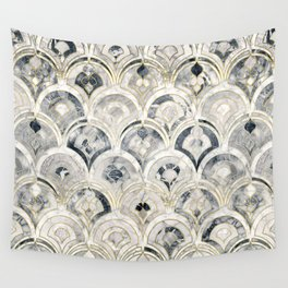 Monochrome Art Deco Marble Tiles Wall Tapestry