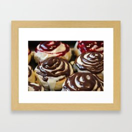 Homemade baking. Buns with currant cream. Framed Art Print