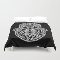 hamsa Duvet Covers featuring Hamsa by Black Sheep