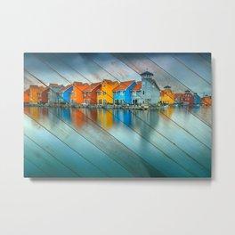 Faux Wood Blue Morning at Waters Edge Groningen Netherlands Europe Coastal Landscape Photograph Metal Print