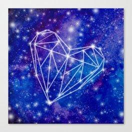 Watercolor Galaxy Heart Canvas Print
