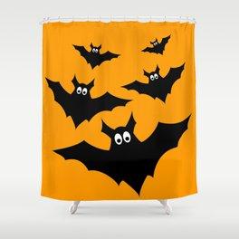 Cool cute Black Flying bats Halloween Shower Curtain