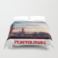 postcard Duvet Covers featuring Postcard from St.Petersburg by Armine Nersisian