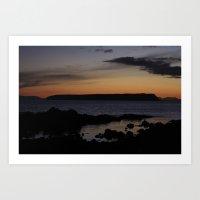 Mana Island after sunset Art Print