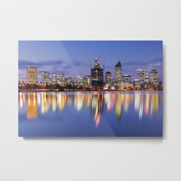 Skyline of Perth, Australia across the Swan River at night Metal Print