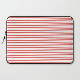 Bright coral and white thin horizontal stripes Laptop Sleeve