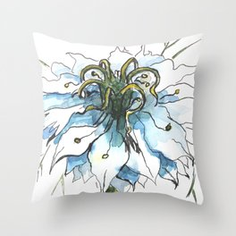 Nigella watercolor beautiful flower, nature Throw Pillow