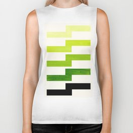 Minimalist Mid Century Modern Sap Green Watercolor Painting Lightning Bolt Zig Zag Pattern With Blac Biker Tank