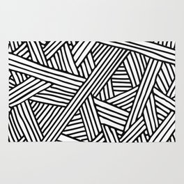 Abstract white & black Lines and Triangles Pattern-Mix and Match with Simplicity of Life Rug