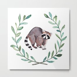 Raccoon Wreath Metal Print