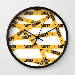 Danger Tape Seamless Pattern Wall Clock