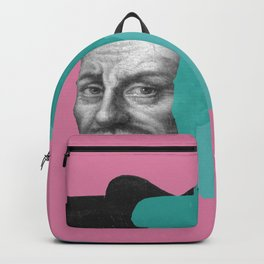Francois Rabelais portrait - pink and blue green Backpack